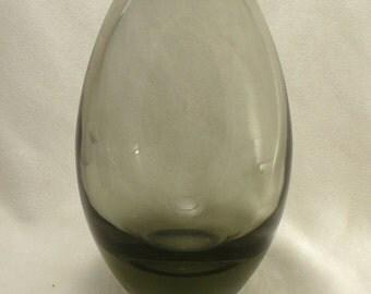 Holmegaard Per Lutken Vase MId Century Smoke Glass Ovoid