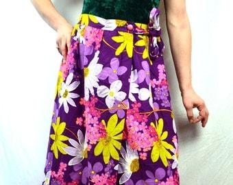 Vintage 60s Bold Maxi Barkcloth Hawaiian Skirt - Beverly Vogue California
