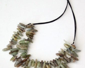 Green kyanite and hematite double sting casual tribe necklace on leather cord made in Israel