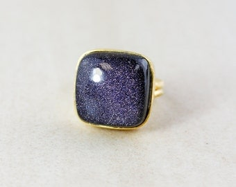 Cushion Midnight Blue Sunstone Ring - Statement Ring