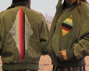 Reconstructed Sage Leather and Serape Bomber Jacket