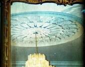 Chandelier Photograph / Savannah / teal blue / feminine home decor / pale blue, butter yellow / wall art print / vintage mirror / Georgia