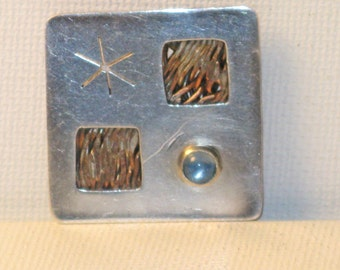 Vintage C. Roche Hand Made Stainless Steel and Copper Abstract Modernist Brooch Pin (B-1-1)