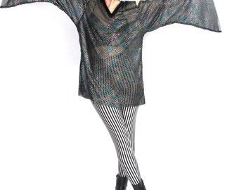 90s Cut Out Shoulder Top Angel Sleeve Blouse Sheer Black Mesh Velvet Goth Fantasy Costume Open Shoulders Rainbow Puffy Paint (M/L)