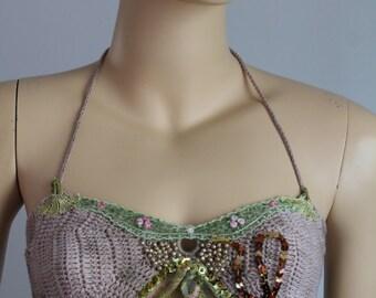 Belly Dance Bra Hippie Gypsy Festival Boho Beige Green Brown  halter top,  sexy halter top, summer top, crochet  bikini - Ready to ship
