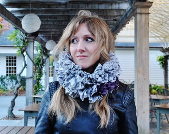 Hand Made/Dyed by hand Volume scarf in Grey/Grey scarf/Large scarf/One of a kind/Bohemian scarf/Neck Warmer/marinaasta/rusteam