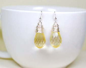 Pale Lemon Yellow Earrings, Pastel Drops Yellow Wire Wrapped Teardrop Briolette Dangles, Simple Affordable Easter Jewelry