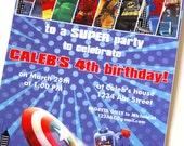 LEGO Superhero Custom PRINTABLE Birthday Invitation