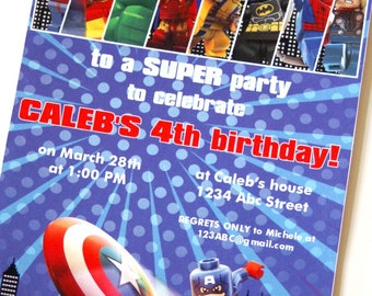 LEGO Superhero Custom PRINTABLE Birthday Invitation
