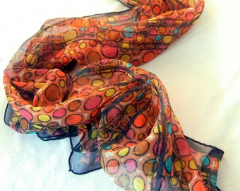 Chiffon Scarf, Autumn Cobblestone Path Motif in Orange Red Brown and Turquoise Pebble Circles, 80s