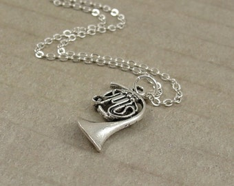 French Horn Necklace, Silver Plated French Horn Charm on a Silver Cable Chain