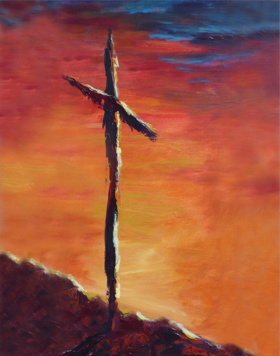 Cross painting cross poster art print easter cross art for Cross paintings on canvas
