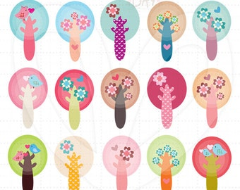 Blossom Trees Clip Art - Group Set - SKU : D13019