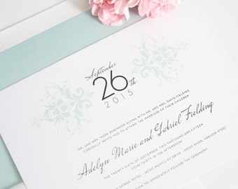 Elegant Damask Wedding Invitations - Deposit