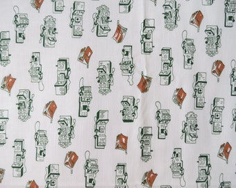 40s/50s Vintage Fabric - Green Brown Telephone Print Cotton - 3/4 yd remnant