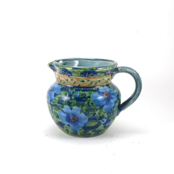 Blue Ceramic Pitcher Traditional Floral Style By SandyKreyer
