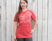 Hot Pot - hand printed silk screened red unisex graphic tee shirt
