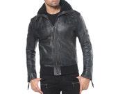 ROOK - Men's Bomber Jacket - Sheep Leather - Shearling Collar - Handcast Buckles - Designer Jan Hilmer