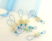 Bead Knitting Stitch Markers - Set of 7 - Flat Square Daisy Millefiori - Choice of Wire Color and Needle Size