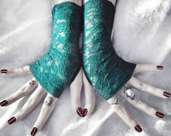 Water Wisp Lace Fingerless Gloves - Teal Turquoise Blue Green Floral - Gothic Vampire Lolita Wedding Fetish Dark Tribal Goth Gypsy Romantic