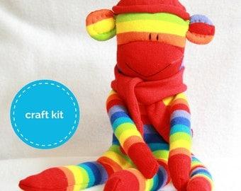 Sock Monkey Kit - Red Rainbow Stripes, Craft Kit, Stuffed Animal, Teens