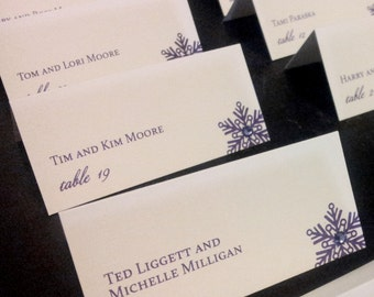Snowflake Place Cards, Winter Placecards, Purple Placecards, Dark Purple, Crystal Placecards - Glam Winter Placecards