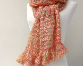 Hand knitted scarf , Coral knit scarf Winter  Accessories Winter scarf