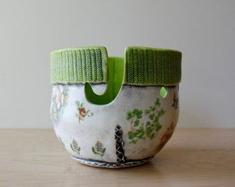 Yarn Bowl | cozy knit texture | yarn storage organizing | knit crochet | floral decals with matte glazes, pick your colors, made to order