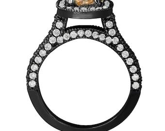 Fancy Champagne & White Diamond Engagement Ring Vintage Style 14k Black Gold 1.85 Carat Halo Certified HandMade Pave Set
