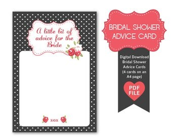 Advice for the Bride- Advice Cards for Bridal Showers, Floral, Vintage inspired style