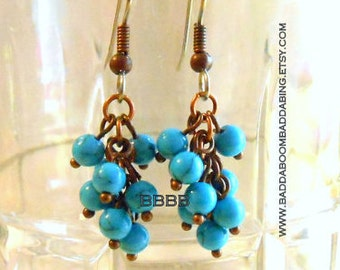 Turquoise Blue Cluster Earrings - Surgical Steel French Hooks SALE USA