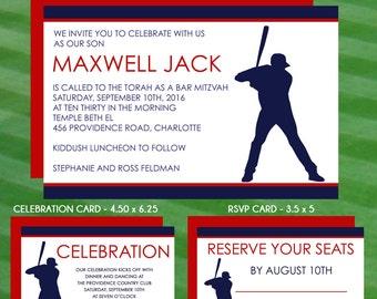 Baseball Bar Mitzvah Invitations, RSVP, Thank You Cards