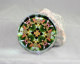 Glass Paperweight Orchid Mandala Boho Chic Sacred Geometry Kaleidoscope Hippie New Age Unique Boss Gift Teacher Gift Office My Hearts Desire