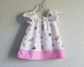 Easter Dress! Baby Girls Pink & White Dress and Bloomers Outfit - Bambi and her Woodland Friends - Size Newborn, 3m, 6m, 9m, 12m or 18m