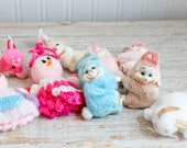 Retro Easter Decor, Vintage Decorations, Easter Bunny, Easter Rabbit, Easter Chick, Clip On Bunny, Pink, Blue, Kitsch Easter, Easter Craft