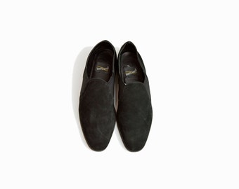 Vintage 90s Black Suede Shoes / Slip On Leather Flats - women's 7
