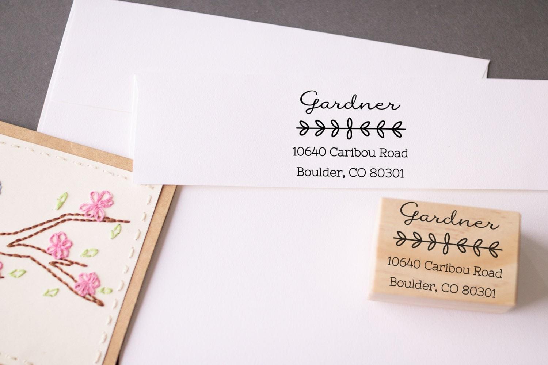 Return Address Stamp Calligraphy Leaves Custom Wedding