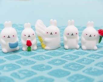 5x Little Grumpy White Bunny Rabbits 18mm ..Easter