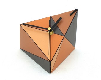 Desk Clock, Wood clock, Geometric Table clock, Triangle, Brown, Grey, Orange clock, Tan, Unique gift, Spring home decor, Mothers day gift