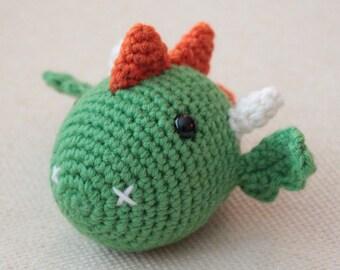 Dragon Chinese Zodiac Amigurumi - CUSTOM ORDER - Montessori - toy - green orange