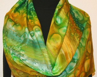 Silk Scarf Hand Painted. Green, Terracotta Handmade Scarf, STORMY RIVER. Size 11x60. Mother's Gift. Artist Silk. Silk Bridesmaid Gift
