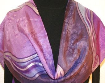 Silk Scarf Handpainted. Purple Hand Painted Shawl. Handmade Silk Wrap MAGIC LANDS. Size 11x60. Birthday Gift Mother's Day