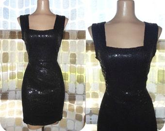 Vintage 80s Sequin Dress   1980s Sequin & Beaded Dress   Black Mini Dress   Cocktail Party Trophy Formal   Size 8 Medium