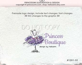 1261-32 TUTU logo , purple tutu logo, Premade Logo Design custom logo Party dress logo / boutique logo / sketch hand drawn dummy dress