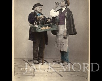 Rare Occupational 1870s Color Photo ~ Italian Water Merchant by Sommer