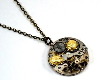 Steampunk Ladybug Necklace, Ladybird Necklace, Ladybug Pendant, Watch Necklace