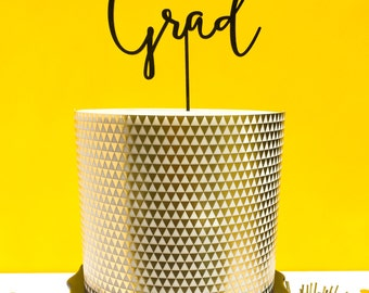 Grad, Graduation Cake Topper, Calligraphy, 1 Ct. Laser Cut, Acrylic