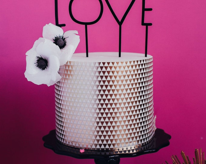 """Wedding or Valentine's Day Cake or Cupcake Topper, """"LOVE"""" Laser Cut, Acrylic"""
