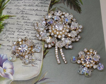 JULIANA Rhinestone Flower & Crystal Bead Cha Cha Brooch and Earrings Set
