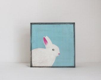 woodland nursery art- white rabbit art print- forest animals- nursery woodland art- animal print- nursery forest -bunny decor- redtilestudio
